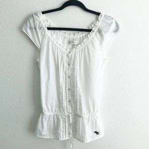 Abercrombie & Fitch Button Front Peplum Blouse